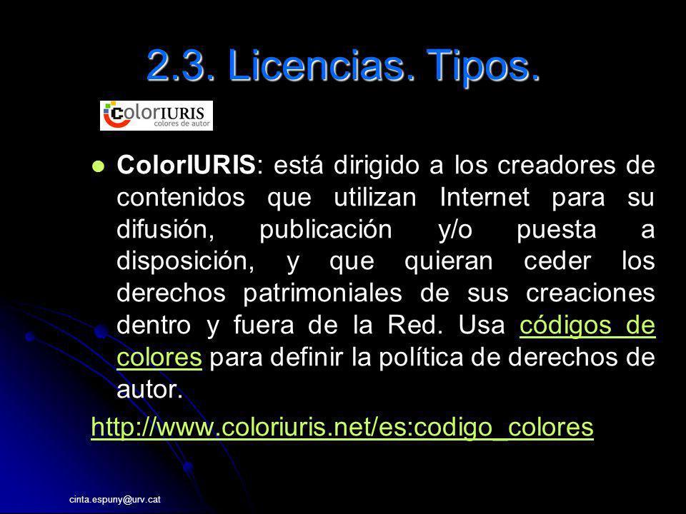 cinta.espuny@urv.cat 2.3. Licencias. Tipos. ColorIURIS: está dirigido a los creadores de contenidos que utilizan Internet para su difusión, publicació