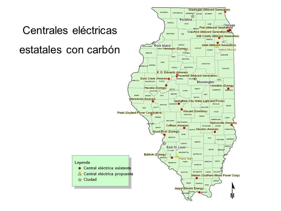Centrales eléctricas estatales con carbón Leyenda Central eléctrica existente Central eléctrica propuesta Ciudad