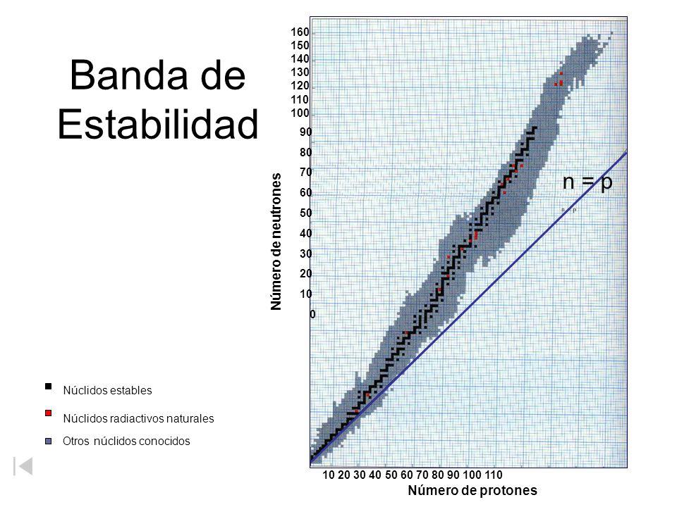 Banda de Estabilidad Número de neutrones 160 150 140 130 120 110 100 90 80 70 60 50 40 30 20 10 0 Núclidos estables Núclidos radiactivos naturales Otr