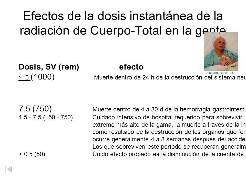 Efectos de la dosis instantánea de la radiación de Cuerpo-Total en la gente Dosis, SV (rem) efecto >10 (1000) Muerte dentro de 24 h de la destrucción