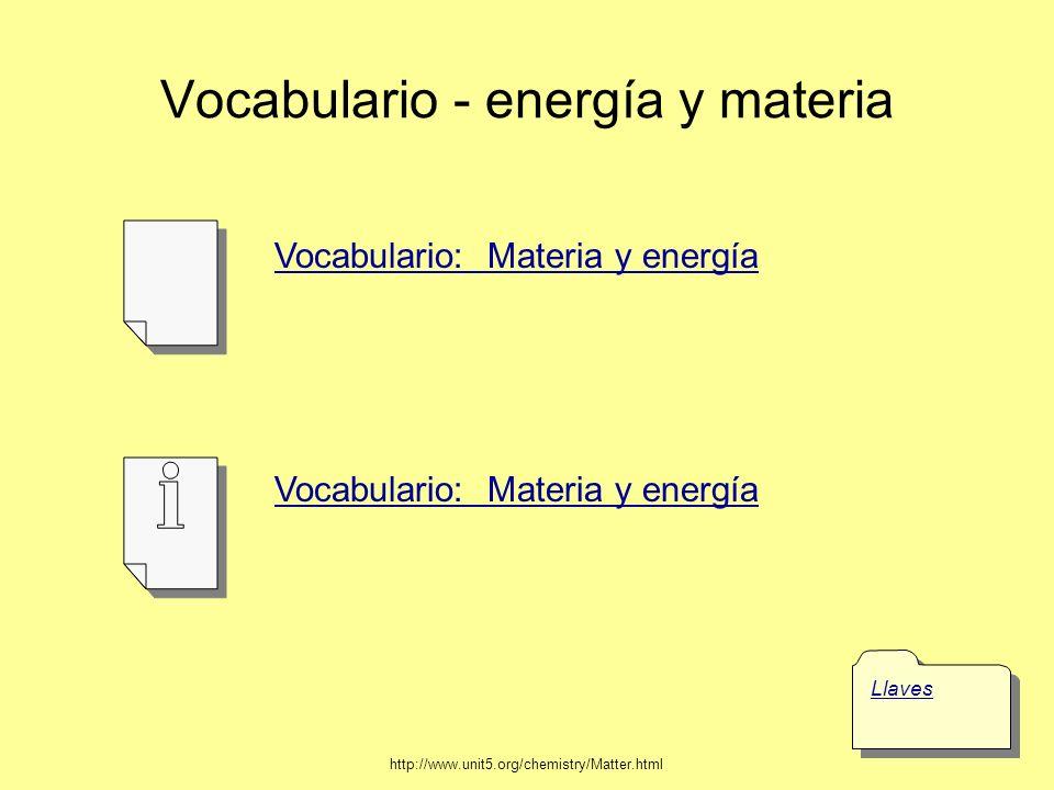 Vocabulario - energía y materia Llaves Vocabulario: Materia y energía http://www.unit5.org/chemistry/Matter.html