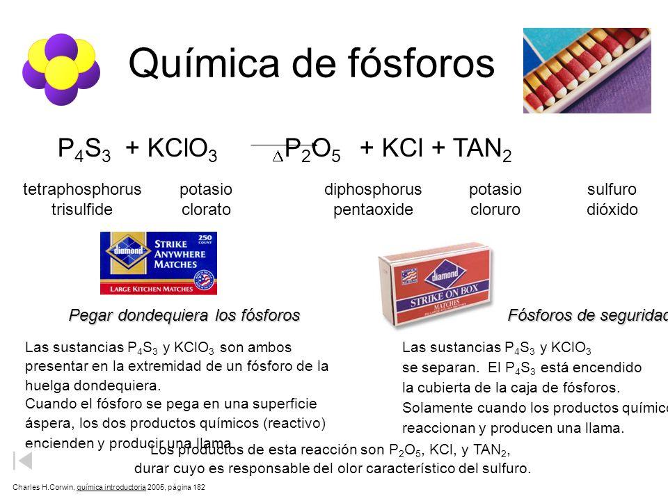 Química de fósforos P 4 S 3 + KClO 3 P 2 O 5 + KCl + TAN 2 tetraphosphorus trisulfide potasio clorato diphosphorus pentaoxide potasio cloruro sulfuro