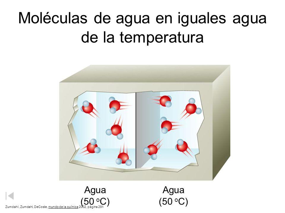 Moléculas de agua en agua caliente y fría Agua fría de la agua caliente 90 o C 10 o C Zumdahl, Zumdahl, DeCoste, mundo de la química 2002, página 291