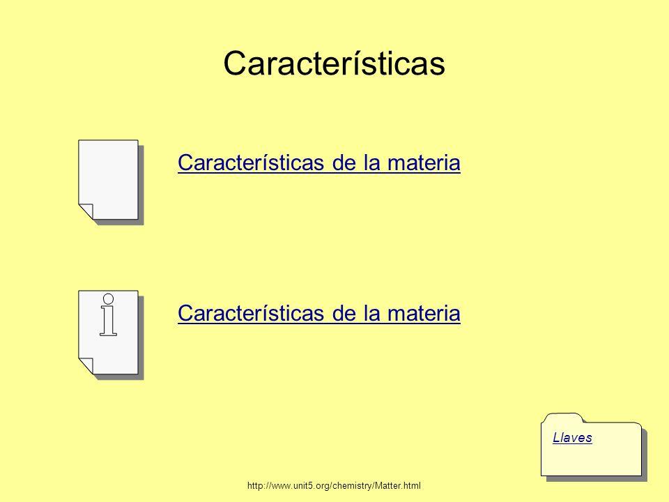 Características Llaves Características de la materia http://www.unit5.org/chemistry/Matter.html