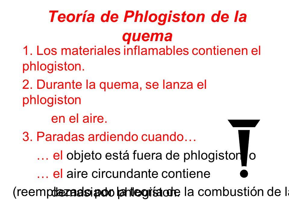 Teoría de Phlogiston de la quema 1. Los materiales inflamables contienen el phlogiston. 2. Durante la quema, se lanza el phlogiston en el aire. 3. Par