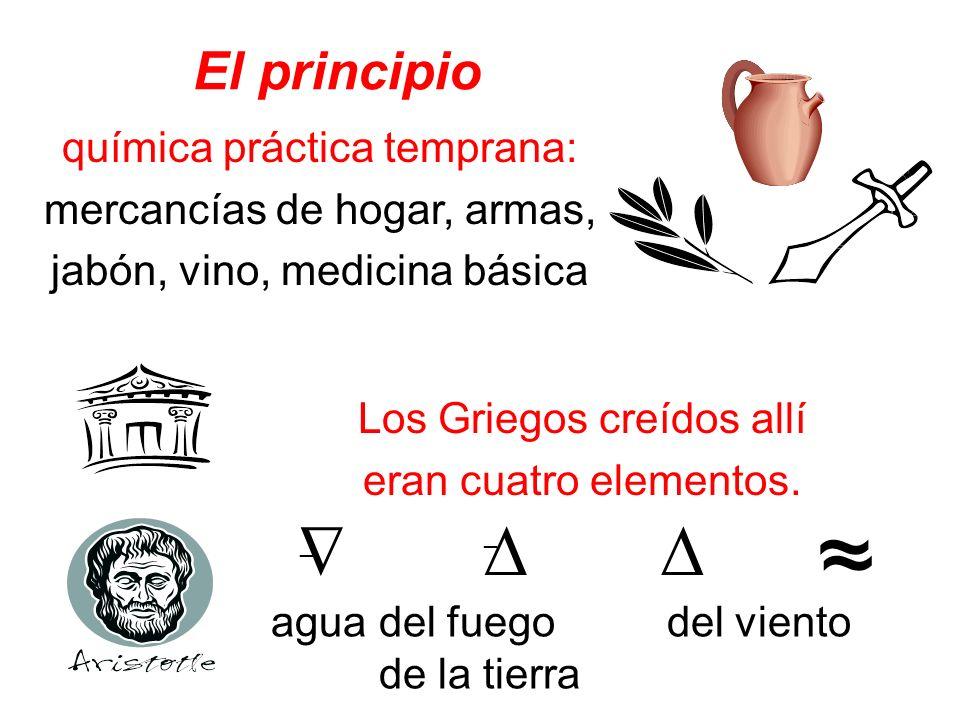 El principio Los Griegos creídos allí eran cuatro elementos. química práctica temprana: mercancías de hogar, armas, jabón, vino, medicina básica agua
