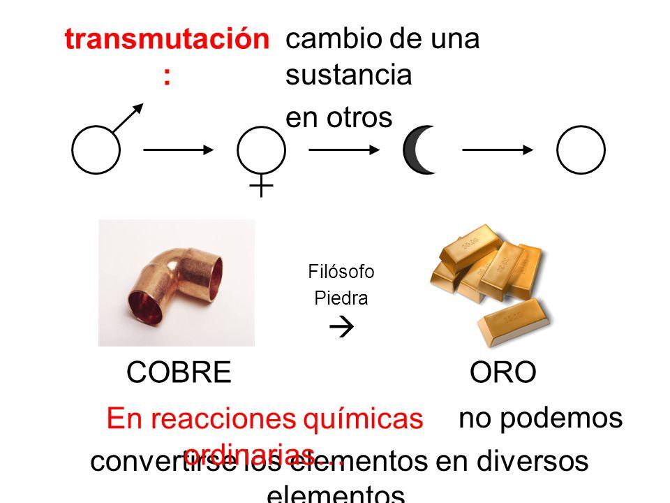 transmutación : no podemos convertirse los elementos en diversos elementos. cambio de una sustancia en otros COBRE ORO Filósofo Piedra En reacciones q