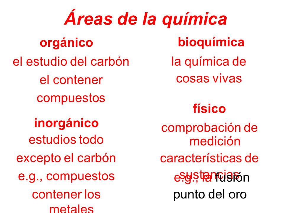 Áreas de la química orgánico físico inorgánico bioquímica estudios todo excepto el carbón e.g., compuestos contener los metales el estudio del carbón
