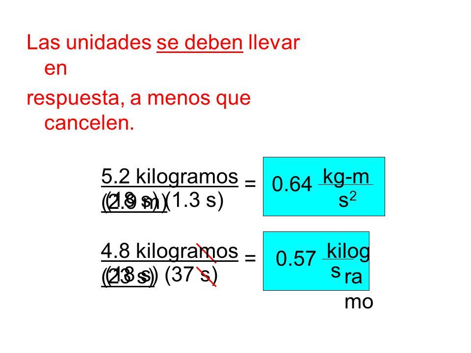 Las unidades se deben llevar en respuesta, a menos que cancelen. 0.64 kg-m s2s2 5.2 kilogramos (2.9 m) (18 s) (1.3 s) = 4.8 kilogramos (23 s) (18 s) (