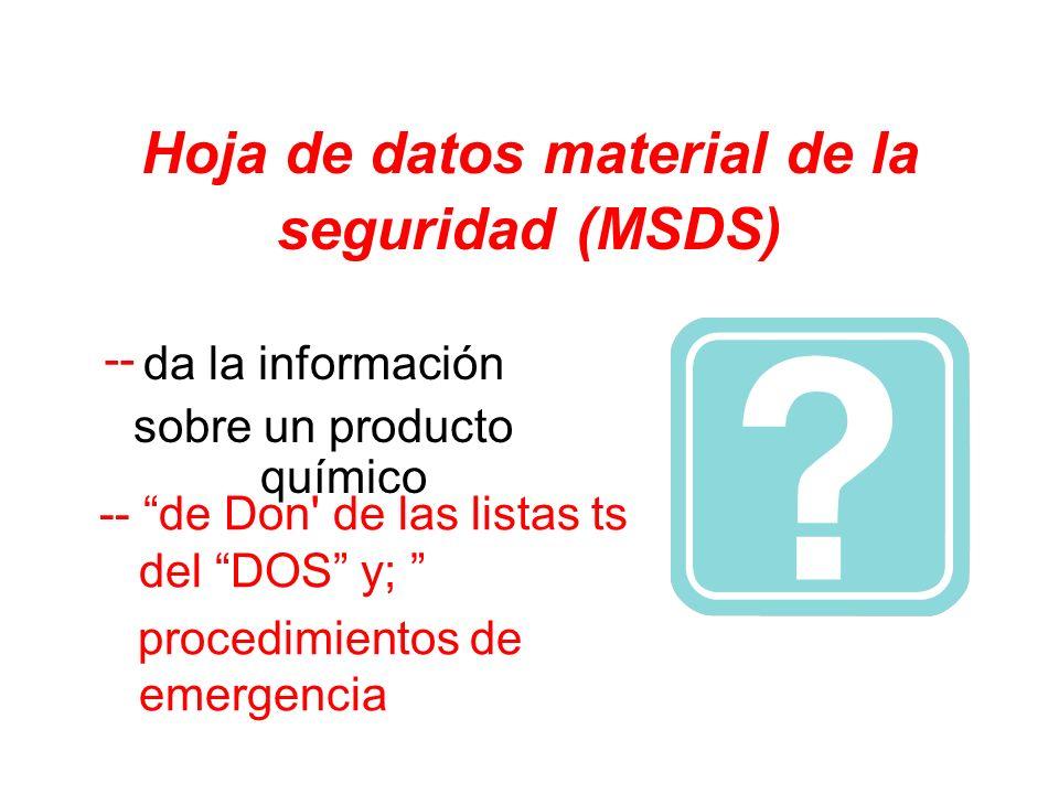 Hoja de datos material de la seguridad (MSDS) da la información sobre un producto químico -- de Don' de las listas ts del DOS y; procedimientos de eme