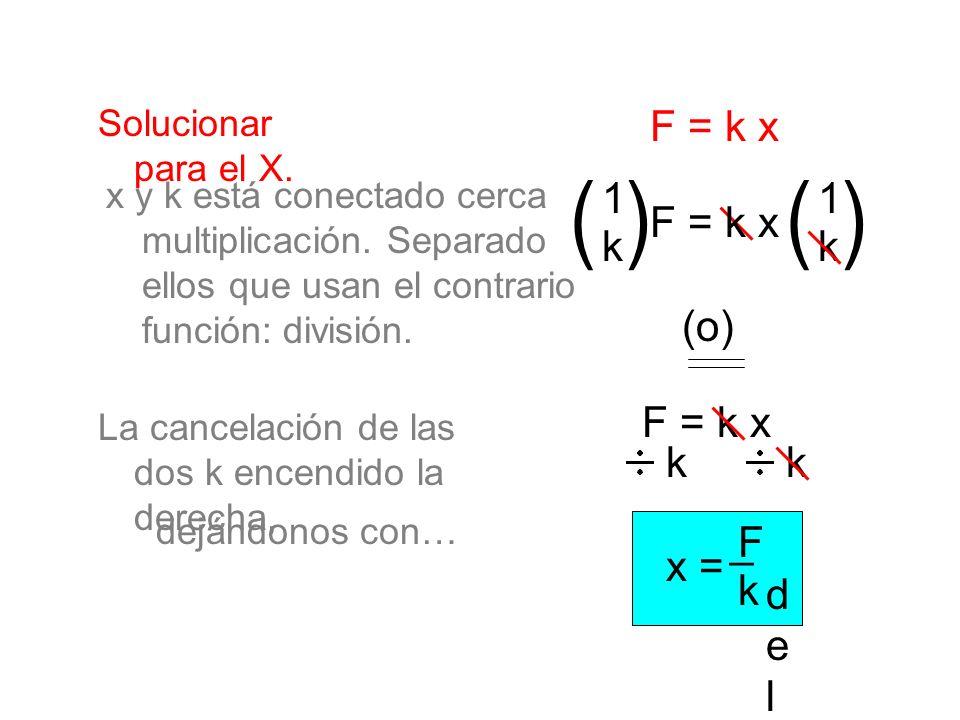 Solucionar para el X. F = k x kk x = F k _del_ _del_ x y k está conectado cerca multiplicación. Separado ellos que usan el contrario función: división