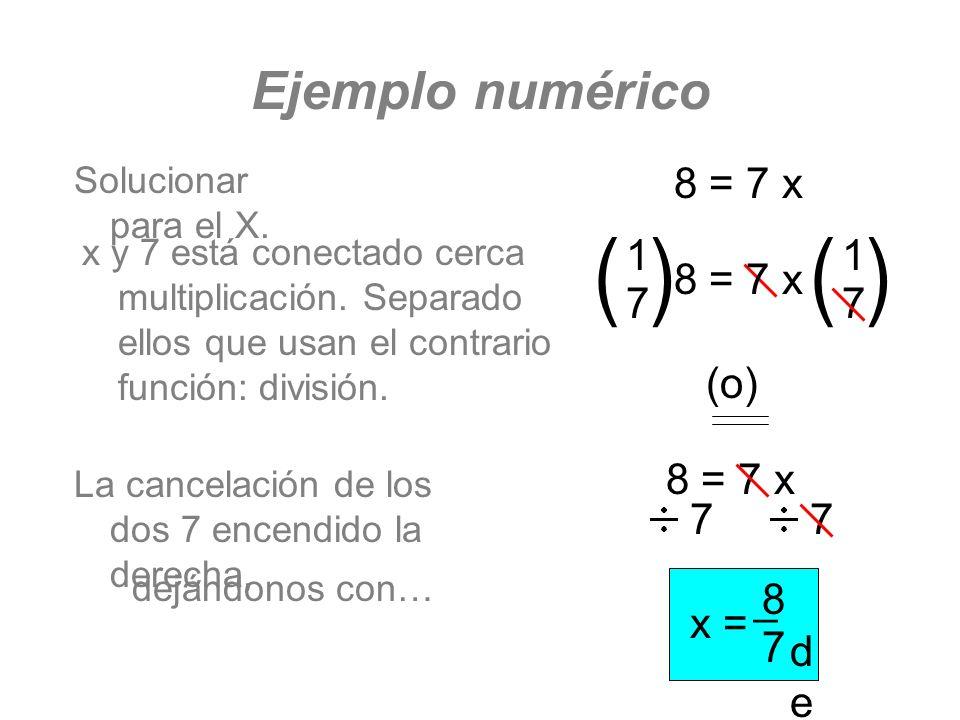 Ejemplo numérico Solucionar para el X. 8 = 7 x 77 x y 7 está conectado cerca multiplicación. Separado ellos que usan el contrario función: división. (