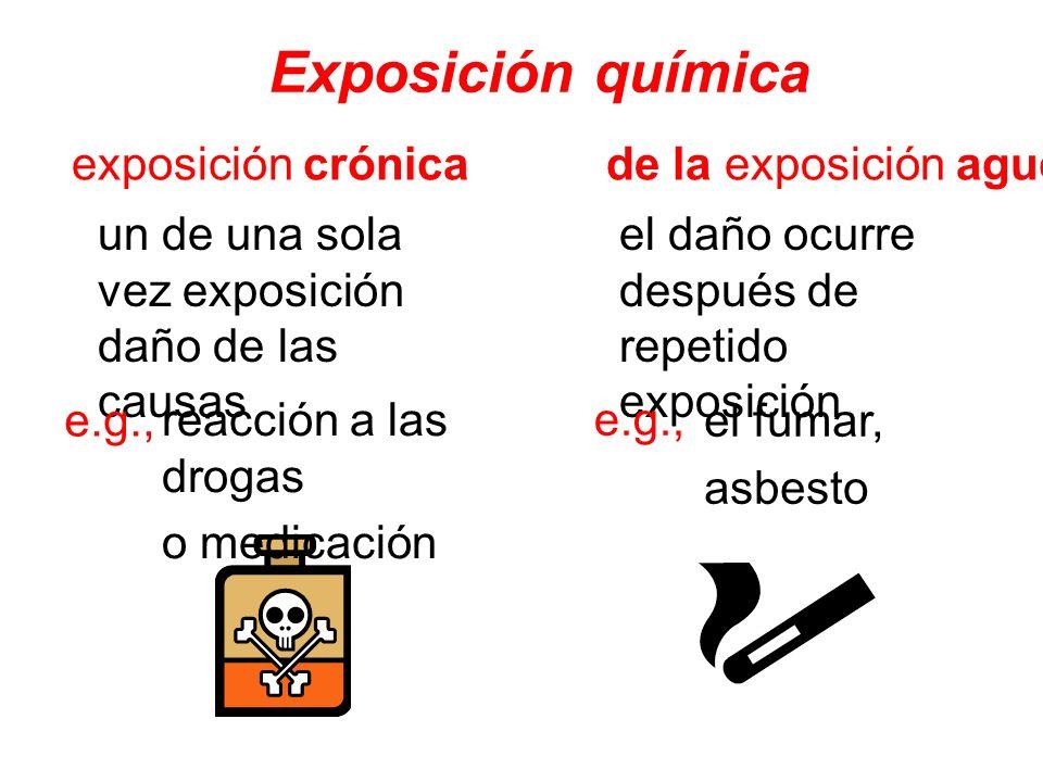 Exposición química un de una sola vez exposición daño de las causas exposición crónica de la exposición aguda el daño ocurre después de repetido expos
