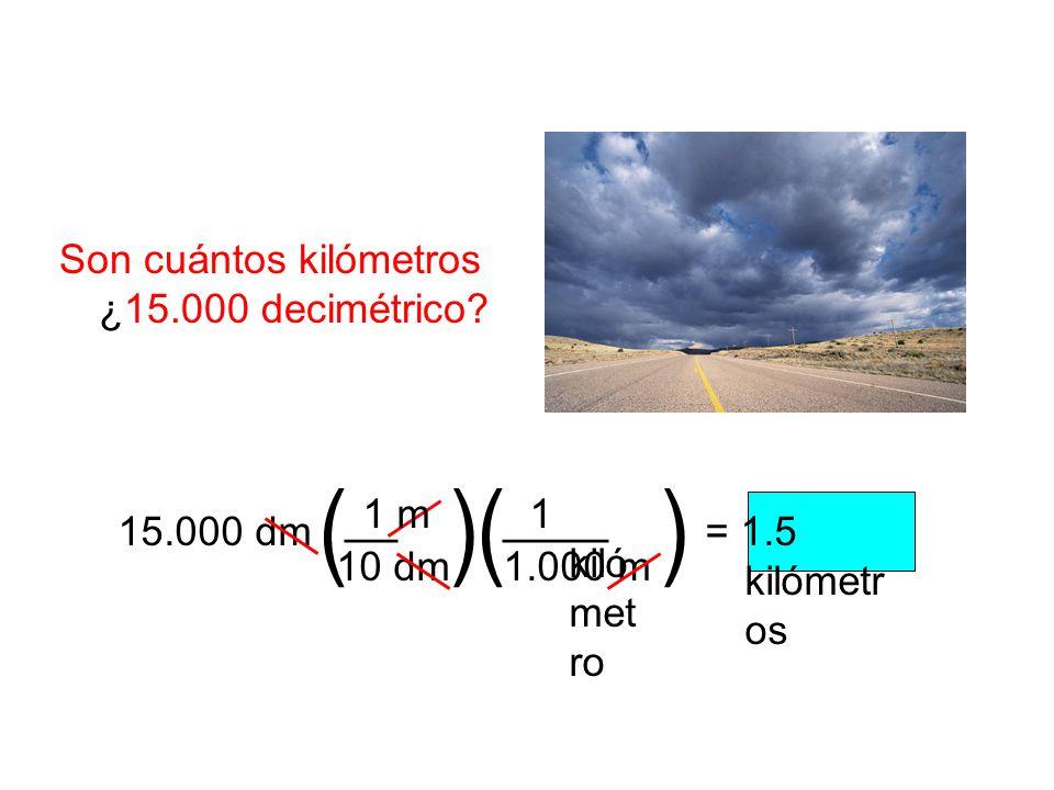 Son cuántos kilómetros ¿15.000 decimétrico? 15.000 dm= 1.5 kilómetr os () __ 1.000 m 1 kiló met ro 10 dm 1 m () ____