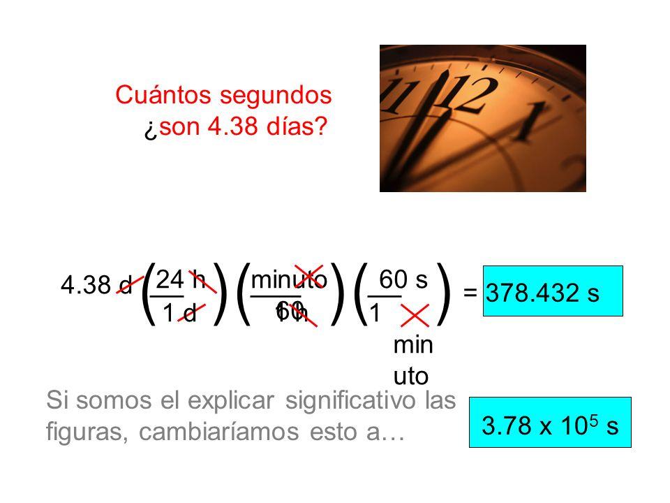 Cuántos segundos ¿son 4.38 días? = 378.432 s 1 h minuto 60 24 h 1 d1 min uto 60 s __ ()() () ___ 4.38 d 3.78 x 10 5 s Si somos el explicar significati