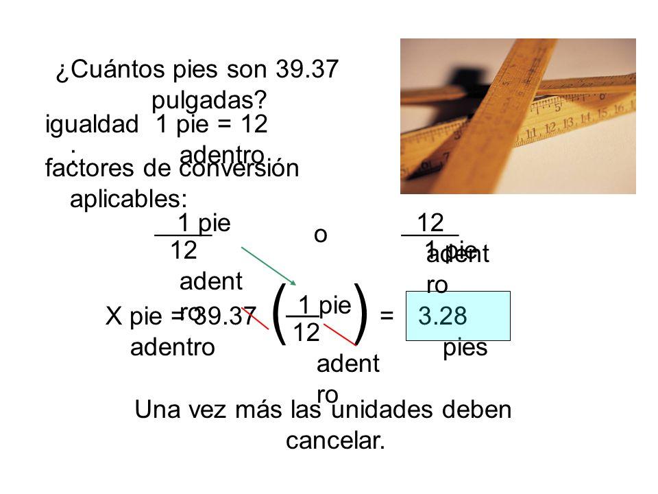 ¿Cuántos pies son 39.37 pulgadas? factores de conversión aplicables: igualdad : o X pie = 39.37 adentro = 1 pie = 12 adentro ____1 pie 12 adent ro Una