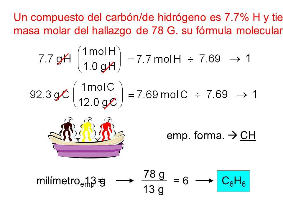 Un compuesto del carbón/de hidrógeno es 7.7% H y tiene a masa molar del hallazgo de 78 G. su fórmula molecular. emp. forma. CH milímetro emp =13 g 78