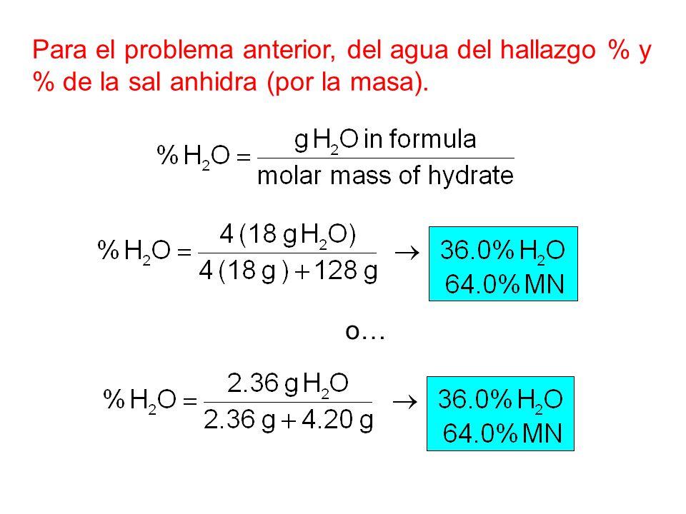 o… Para el problema anterior, del agua del hallazgo % y % de la sal anhidra (por la masa).