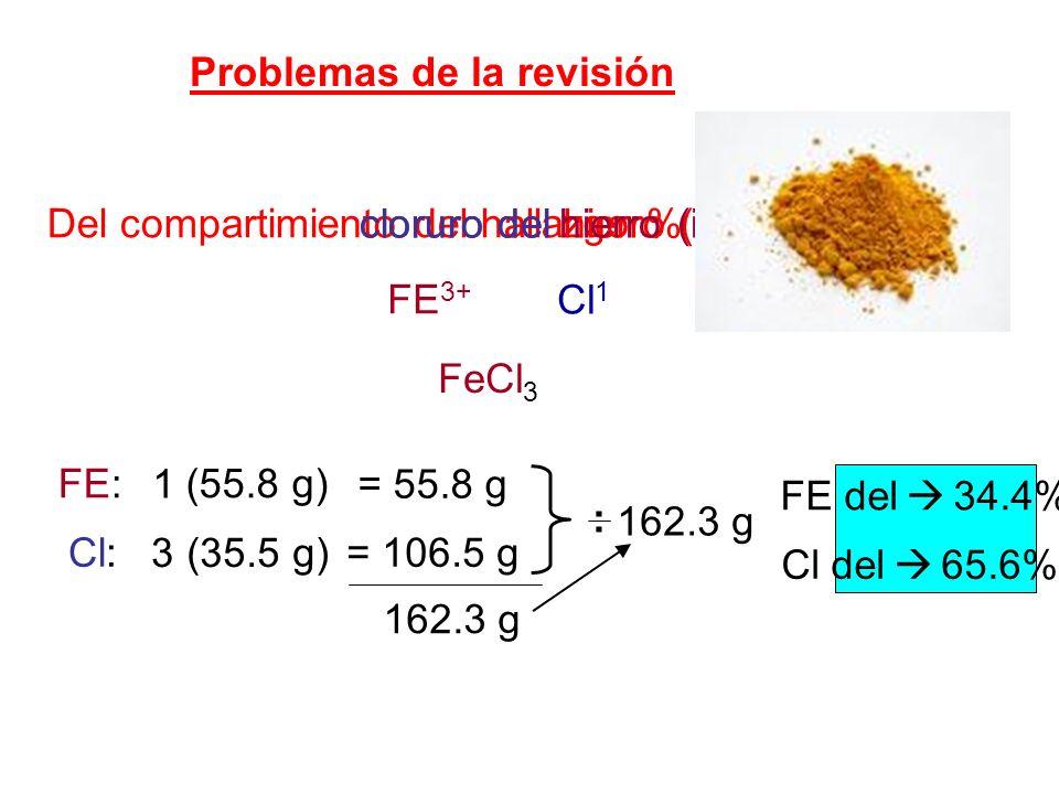 Problemas de la revisión Del compartimiento del hallazgo % de FE 3+ Cl 1 FeCl 3 cloruro del hierro (iii). FE: 1 (55.8 g) = 55.8 g Cl: 3 (35.5 g) = 106