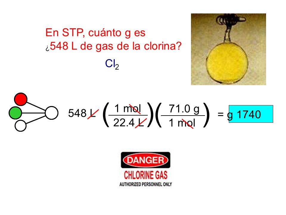 En STP, cuánto g es ¿ 548 L de gas de la clorina? 22.4 L 548 L () 1 mol Cl 2 () 1 mol 71.0 g = g 1740