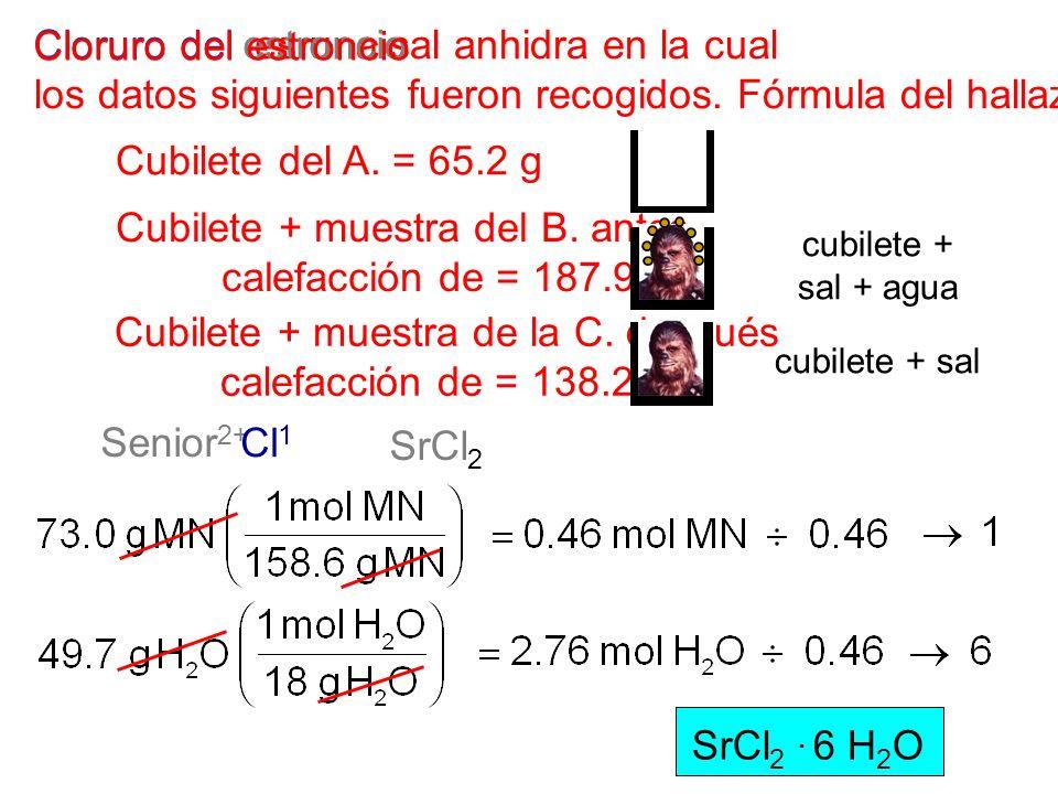 cubilete + sal + agua Cubilete del A. = 65.2 g Cubilete + muestra del B. antes calefacción de = 187.9 g Cubilete + muestra de la C. después calefacció