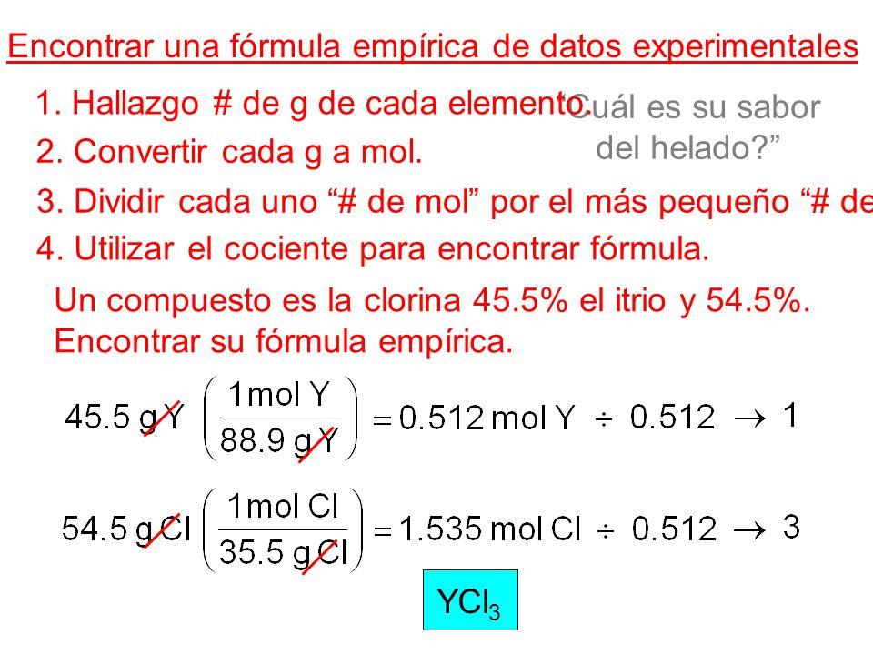Cuál es su sabor del helado? Encontrar una fórmula empírica de datos experimentales 1. Hallazgo # de g de cada elemento. 2. Convertir cada g a mol. 3.