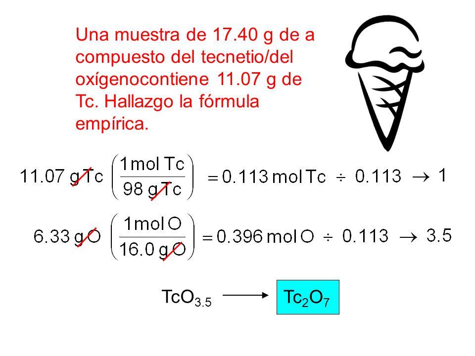 Una muestra de 17.40 g de a compuesto del tecnetio/del oxígenocontiene 11.07 g de Tc. Hallazgo la fórmula empírica. TcO 3.5 Tc 2 O 7