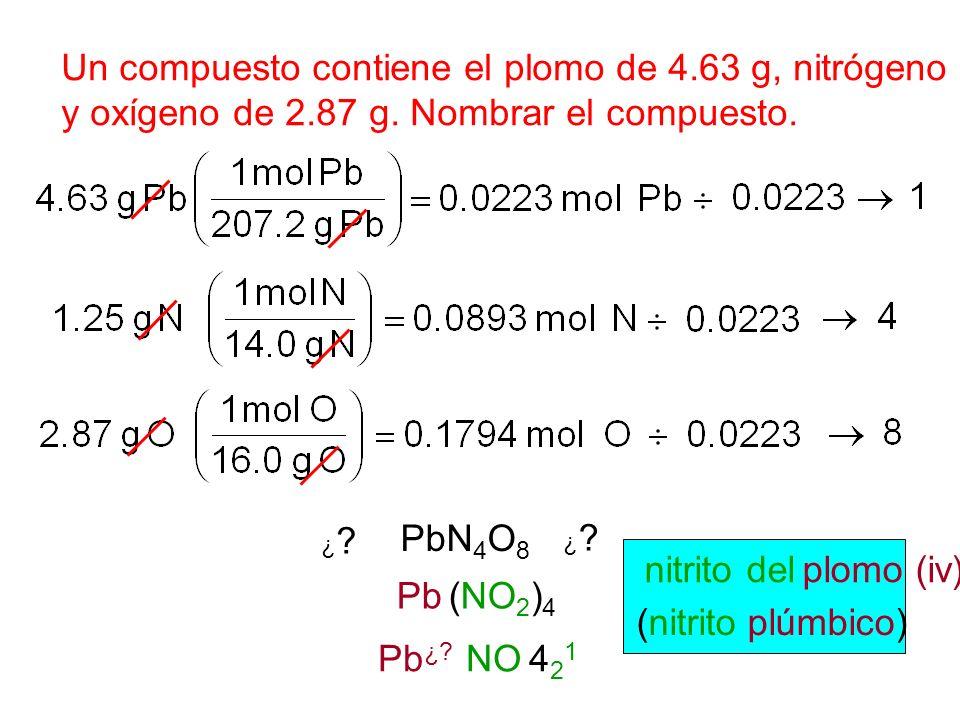 Un compuesto contiene el plomo de 4.63 g, nitrógeno 1.25 de g, y oxígeno de 2.87 g. Nombrar el compuesto. PbN 4 O 8 Pb (NO 2 ) 4 Pb ¿? NO 4 2 1 nitrit