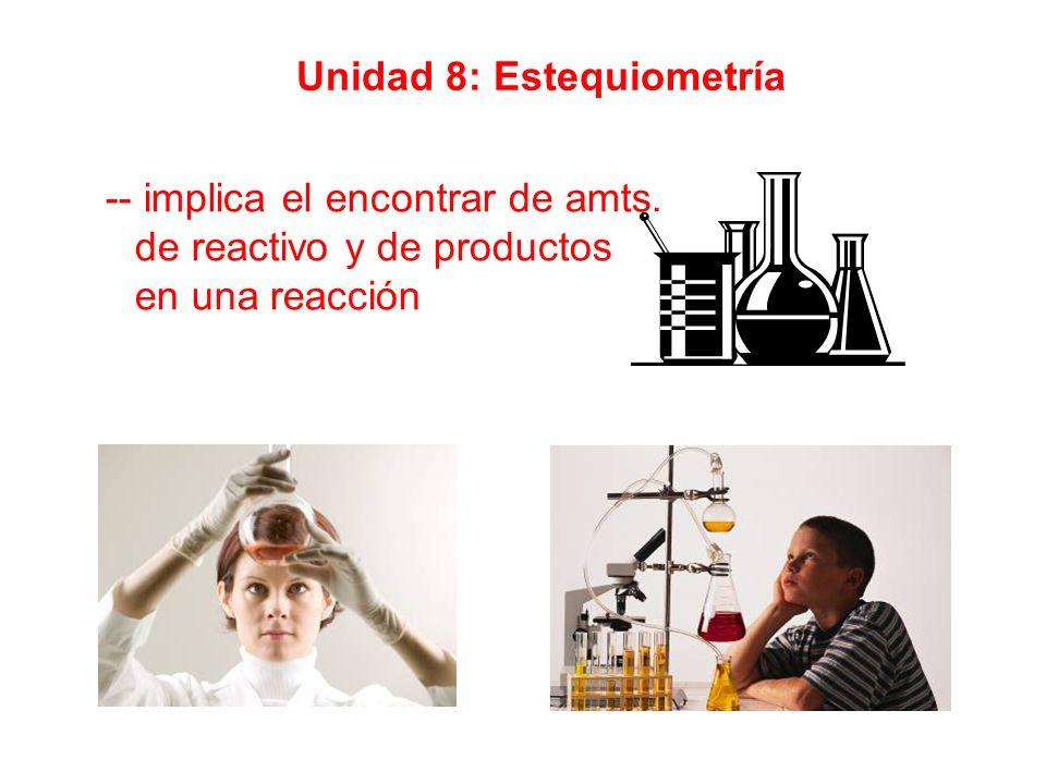 Unidad 8: Estequiometría -- implica el encontrar de amts. de reactivo y de productos en una reacción