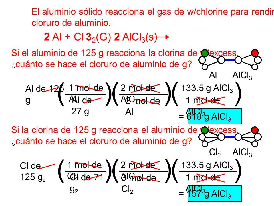 El aluminio sólido reacciona el gas de w/chlorine para rendir el sólido cloruro de aluminio. 2 Al + Cl 3 2 (G) 2 AlCl 3 (s) Si el aluminio de 125 g re