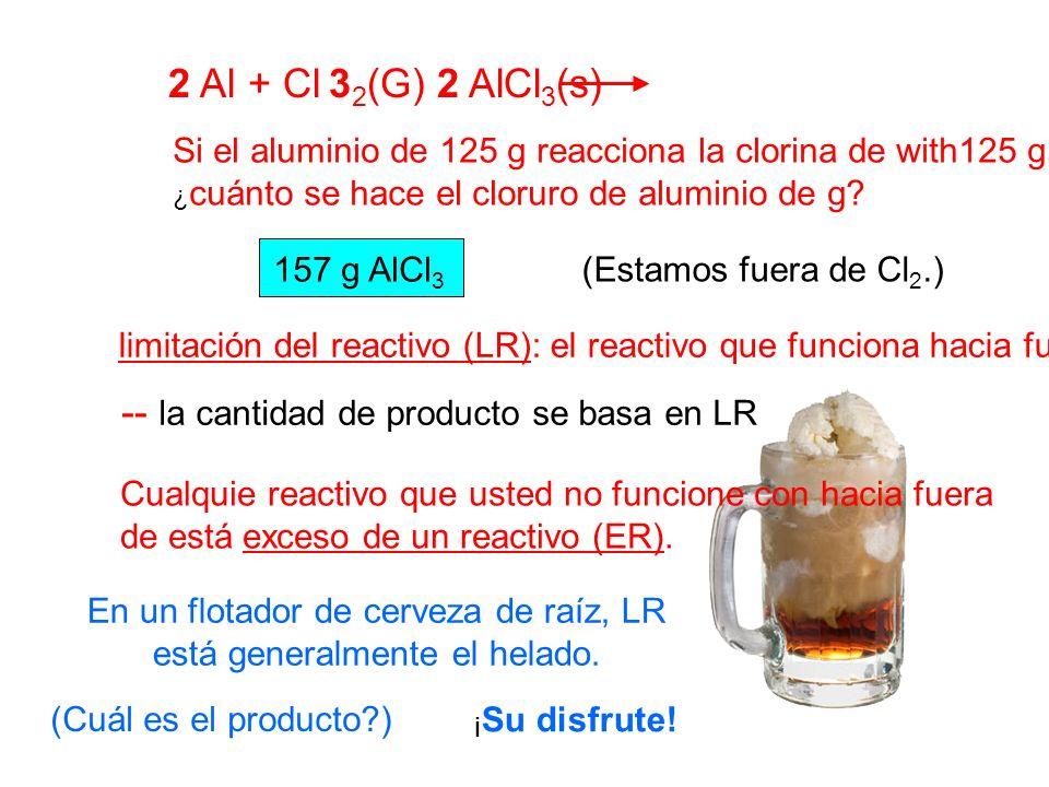 2 Al + Cl 3 2 (G) 2 AlCl 3 (s) Si el aluminio de 125 g reacciona la clorina de with125 g, ¿ cuánto se hace el cloruro de aluminio de g? 157 g AlCl 3 (
