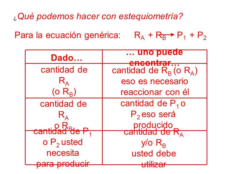 cantidad de R A y/o R B usted debe utilizar cantidad de P 1 o P 2 usted necesita para producir cantidad de P 1 o P 2 eso será producido cantidad de R