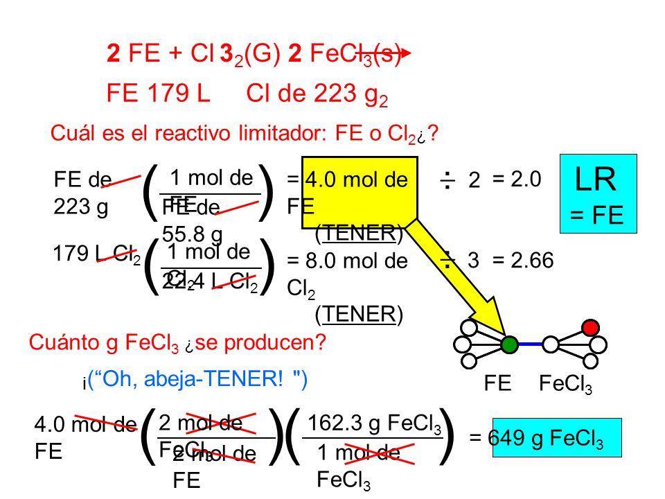 2 FE + Cl 3 2 (G) 2 FeCl 3 (s) FE 179 L Cl de 223 g 2 Cuál es el reactivo limitador: FE o Cl 2 ¿ ? 2 1 mol de FE FE de 55.8 g FE de 223 g () = 4.0 mol