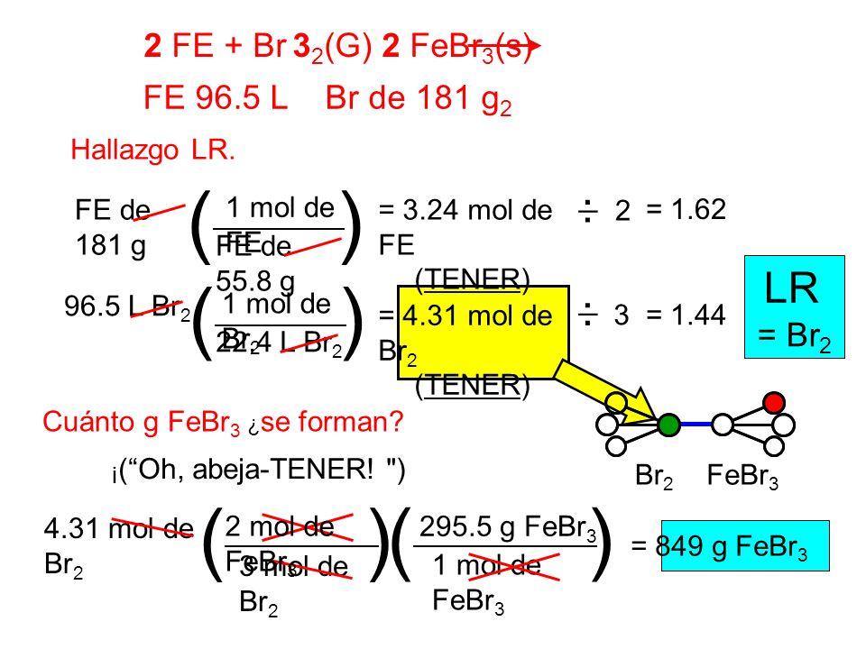 2 FE + Br 3 2 (G) 2 FeBr 3 (s) FE 96.5 L Br de 181 g 2 Hallazgo LR. 2 1 mol de FE FE de 55.8 g FE de 181 g () = 3.24 mol de FE (TENER) 1 mol de Br 2 2