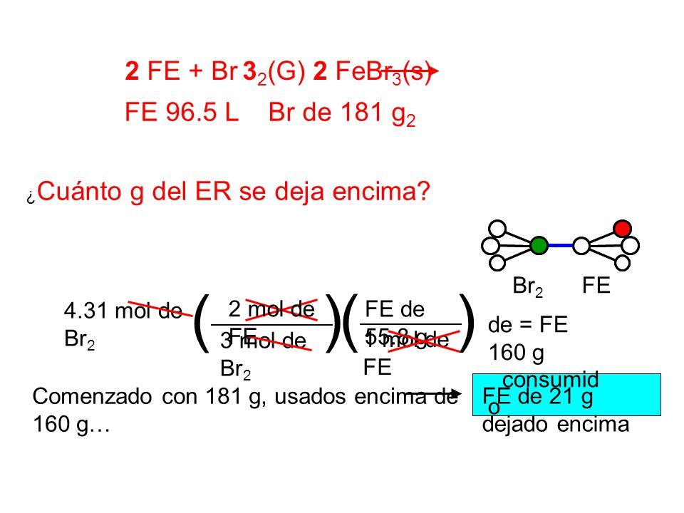 ¿ Cuánto g del ER se deja encima? FE de 55.8 g de = FE 160 g consumid o () 3 mol de Br 2 1 mol de FE () 4.31 mol de Br 2 2 mol de FE FEBr 2 Comenzado