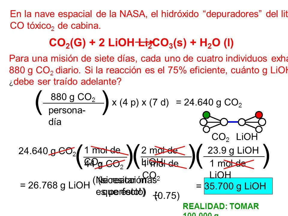 En la nave espacial de la NASA, el hidróxido depuradores del litio quita CO tóxico 2 de cabina. Para una misión de siete días, cada uno de cuatro indi