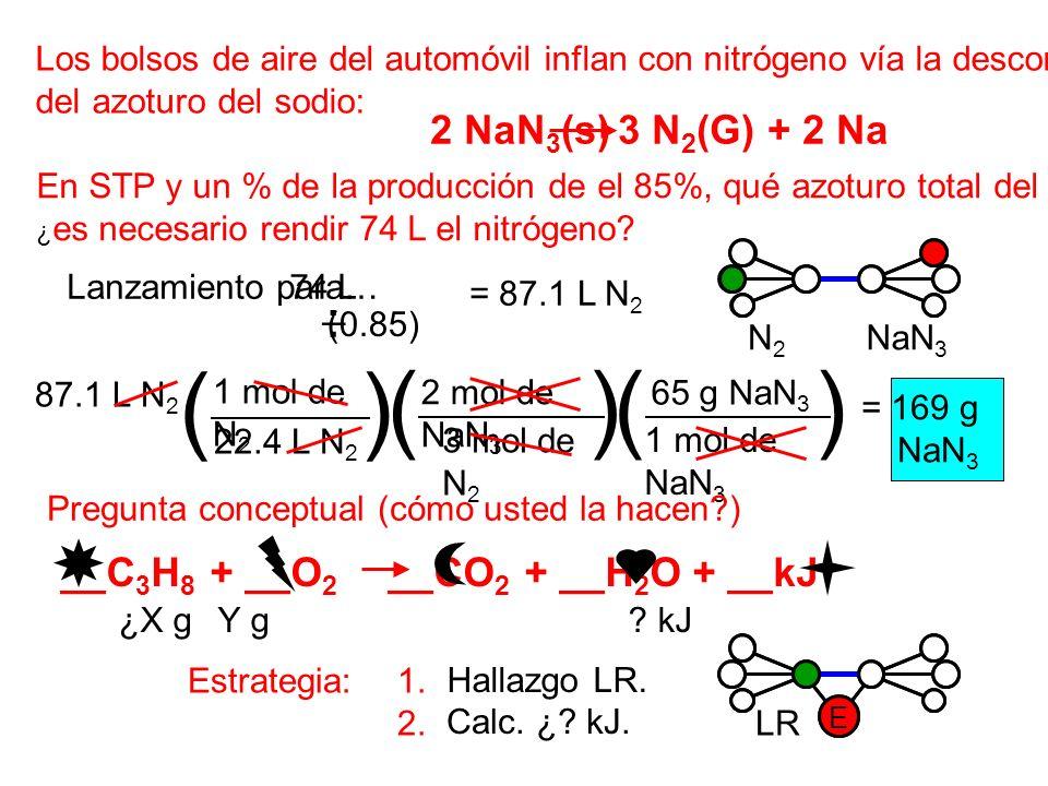 Los bolsos de aire del automóvil inflan con nitrógeno vía la descomposición del azoturo del sodio: 2 NaN 3 (s) 3 N 2 (G) + 2 Na En STP y un % de la pr