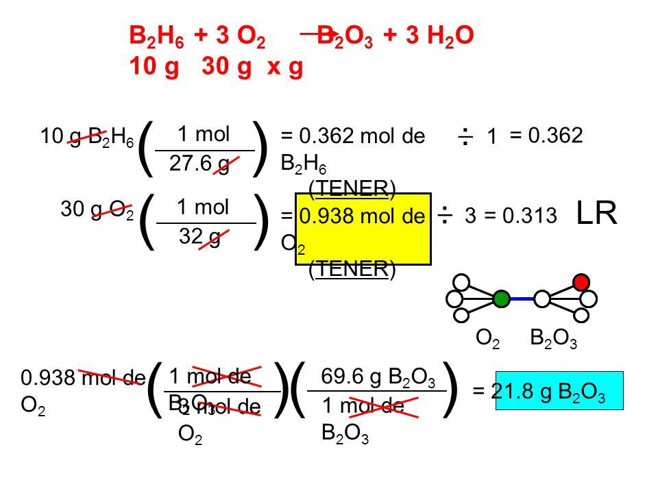 B 2 H 6 + 3 O 2 B 2 O 3 + 3 H 2 O 10 g 30 g x g 1 1 mol 27.6 g 10 g B 2 H 6 () = 0.362 mol de B 2 H 6 (TENER) 1 mol 32 g 30 g O 2 () = 0.938 mol de O