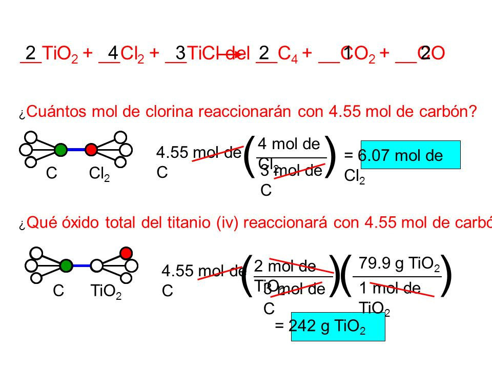 2 __TiO 2 + __Cl 2 + __TiCl del __C 4 + __CO 2 + __CO ¿ Cuántos mol de clorina reaccionarán con 4.55 mol de carbón? 3 mol de C 4 mol de Cl 2 4.55 mol