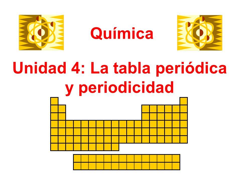 Unidad 4: La tabla periódica y periodicidad Química