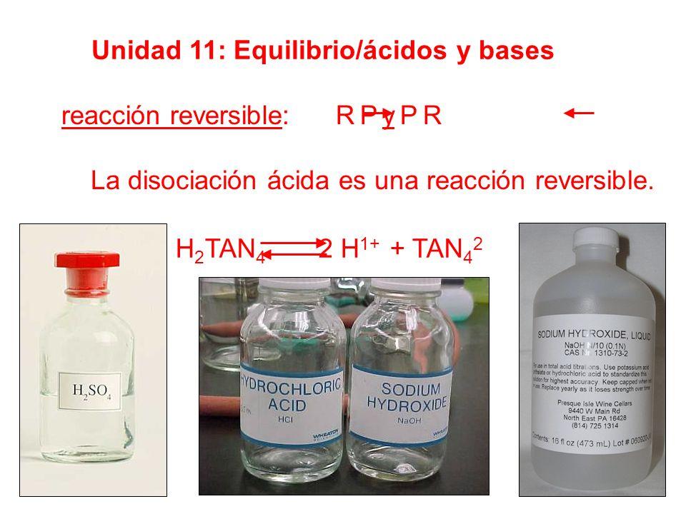 Unidad 11: Equilibrio/ácidos y bases reacción reversible: R P y P R La disociación ácida es una reacción reversible. H 2 TAN 4 2 H 1+ + TAN 4 2