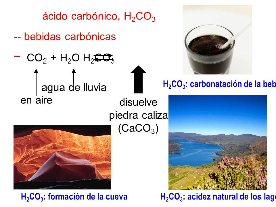 ácido carbónico, H 2 CO 3 -- bebidas carbónicas -- CO 2 + H 2 O H 2 CO 3 disuelve piedra caliza (CaCO 3 ) agua de lluvia en aire H 2 CO 3 : formación