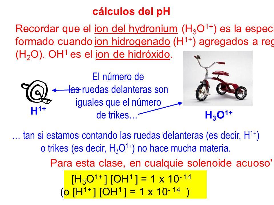 cálculos del pH Recordar que el ion del hydronium (H 3 O 1+ ) es la especie formado cuando ion hidrogenado (H 1+ ) agregados a regar (H 2 O). OH 1 es