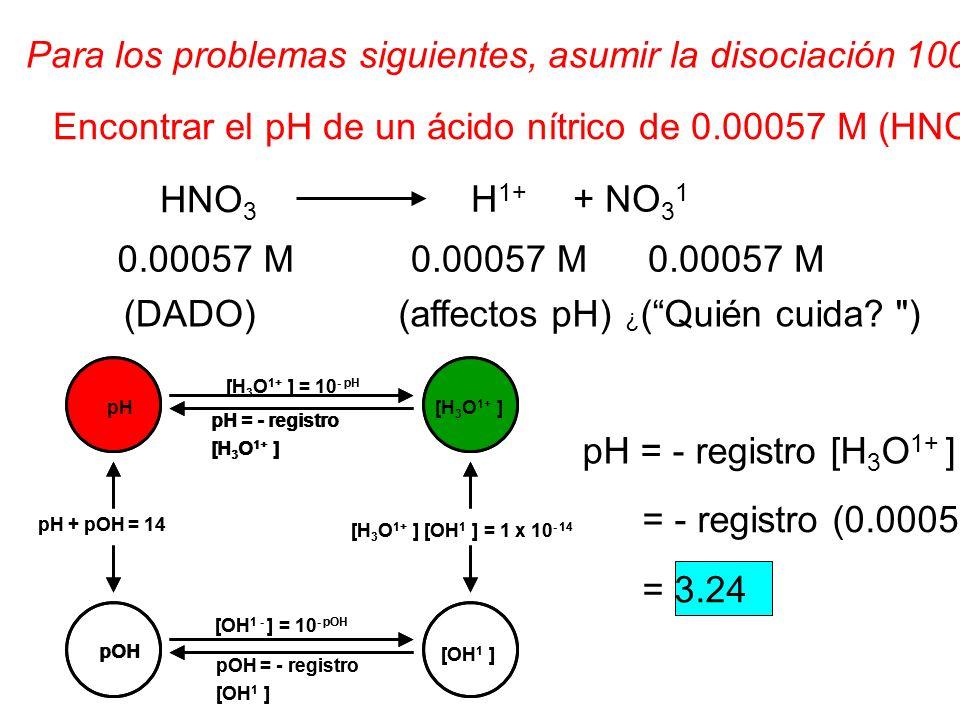 Para los problemas siguientes, asumir la disociación 100%. Encontrar el pH de un ácido nítrico de 0.00057 M (HNO 3 ) solenoide' N. HNO 3 0.00057 M ¿ (