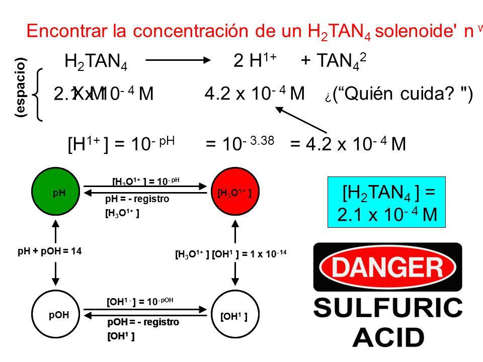 Encontrar la concentración de un H 2 TAN 4 solenoide' n w /pH 3.38. H 2 TAN 4 2 H 1+ + TAN 4 2 [H 1+ ] = 10 - pH = 10 - 3.38 = 4.2 x 10 - 4 M pOH pH [