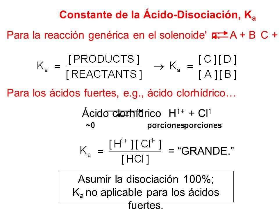 Constante de la Ácido-Disociación, K a Para la reacción genérica en el solenoide' n: A + B C + D Para los ácidos fuertes, e.g., ácido clorhídrico… Áci