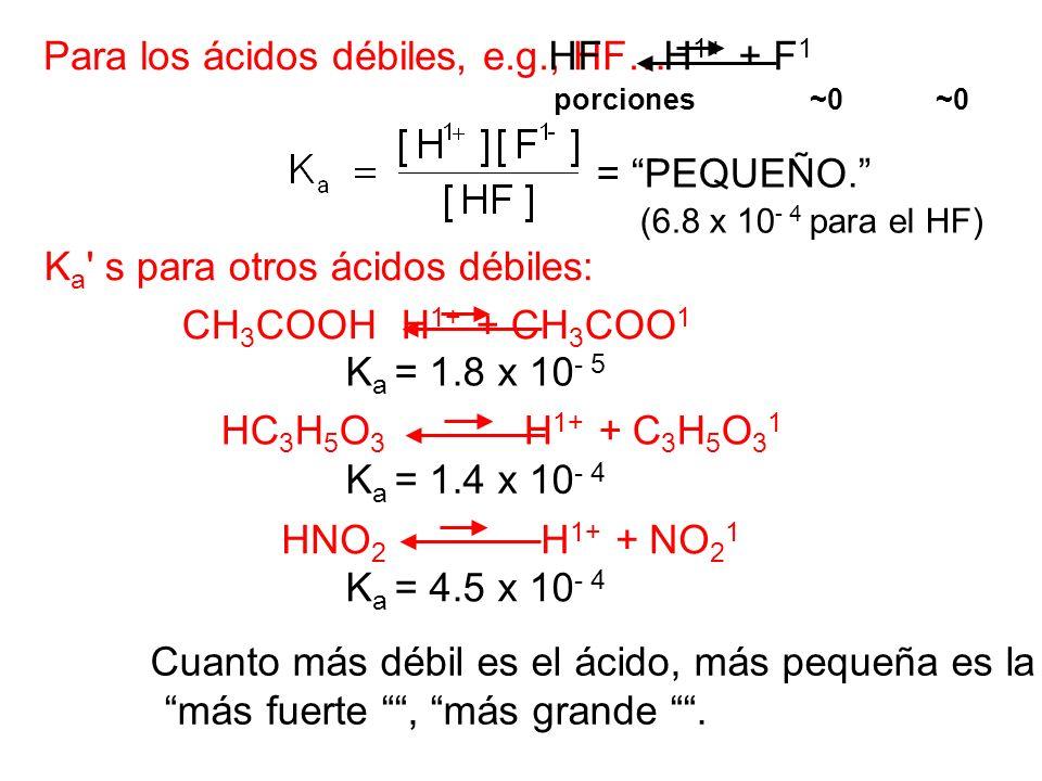 Para los ácidos débiles, e.g., HF… HF H 1+ + F 1 = PEQUEÑO. (6.8 x 10 - 4 para el HF) K a ' s para otros ácidos débiles: CH 3 COOH H 1+ + CH 3 COO 1 H