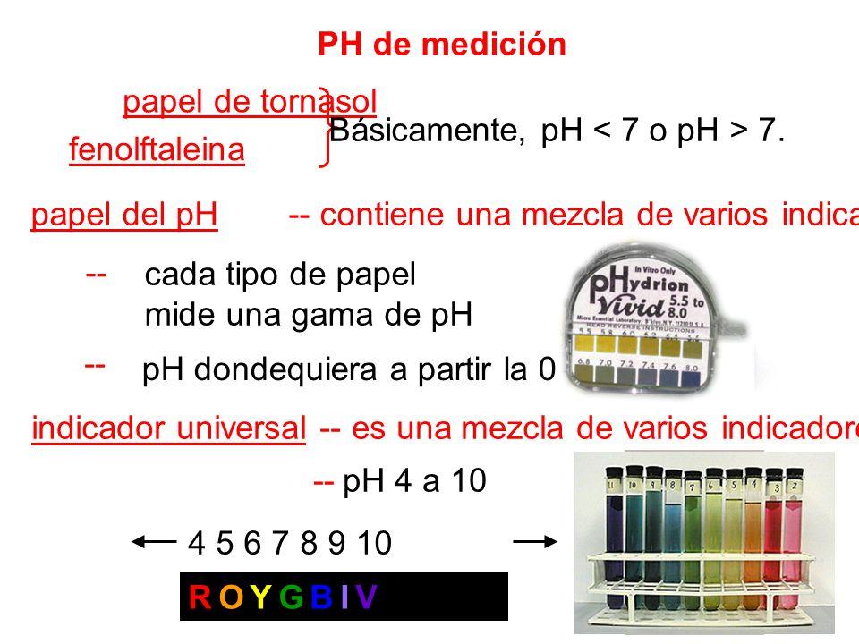 PH de medición papel de tornasol fenolftaleina Básicamente, pH 7. papel del pH -- contiene una mezcla de varios indicadores -- cada tipo de papel mide