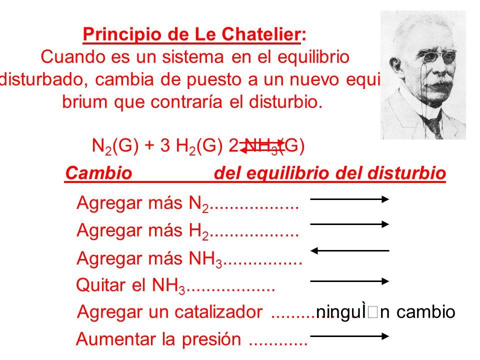 Principio de Le Chatelier: Cuando es un sistema en el equilibrio disturbado, cambia de puesto a un nuevo equili- brium que contraría el disturbio. N 2