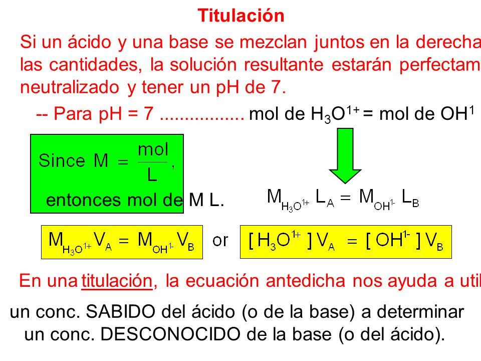 Titulación Si un ácido y una base se mezclan juntos en la derecha las cantidades, la solución resultante estarán perfectamente neutralizado y tener un